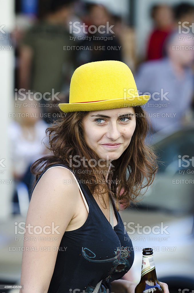 Beautiful girl in a protest march against nuclear stock photo