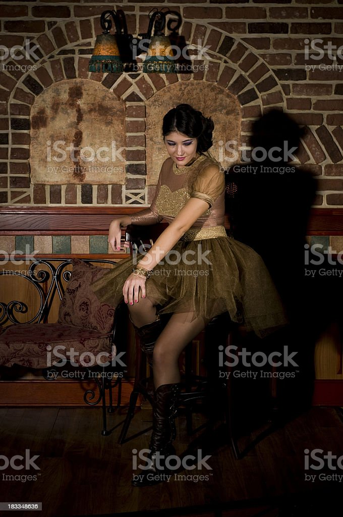 Beautiful Girl In An Elegant Dress Posing... royalty-free stock photo