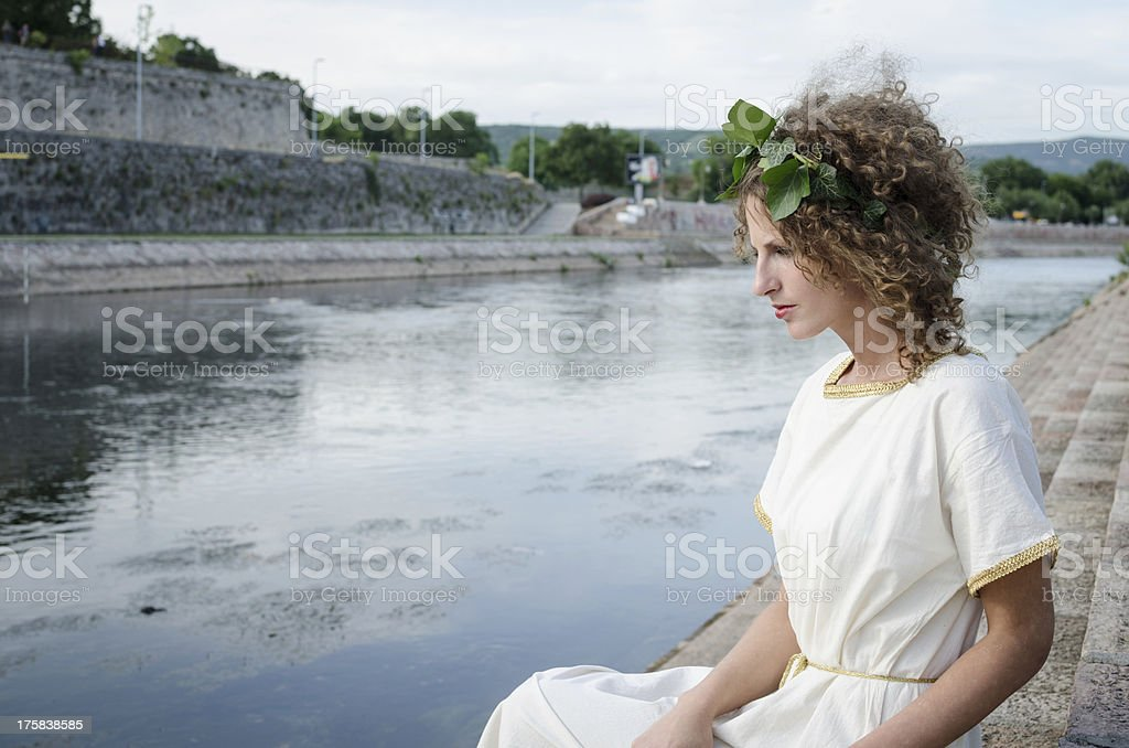 Beautiful girl in ancient style stock photo