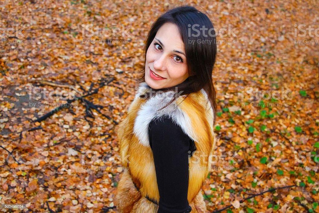 Beautiful girl in beautiful autumn russian forest stock photo