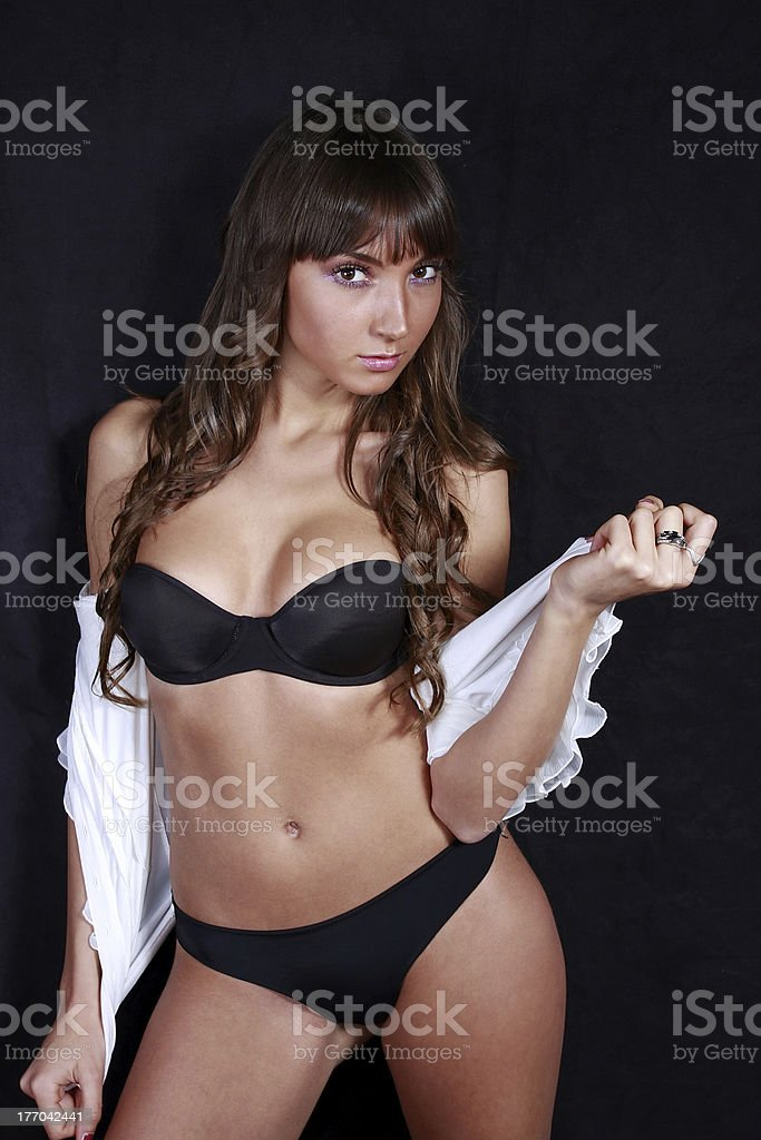 Beautiful girl in black bikini royalty-free stock photo