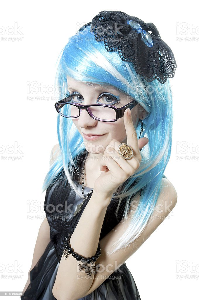 Beautiful girl in black dress stock photo