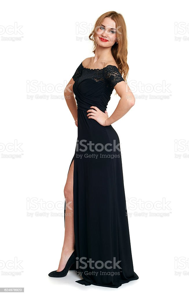 beautiful girl in black gown isolated on white, holiday concept stock photo