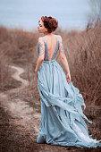 Beautiful girl in blue dress