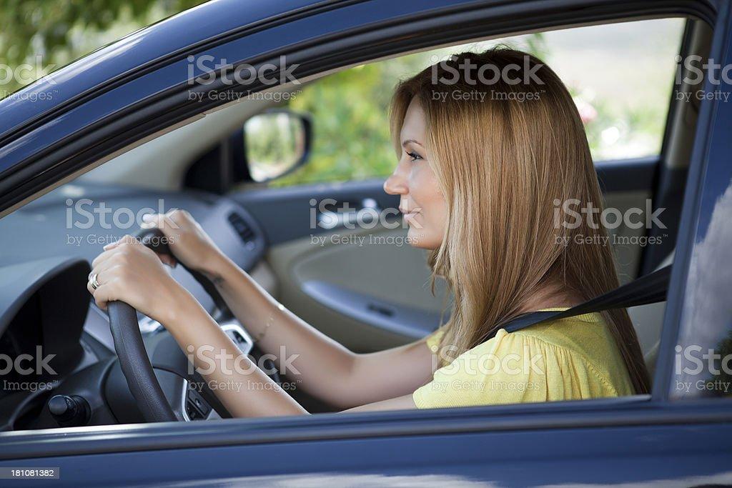 Beautiful girl in car royalty-free stock photo