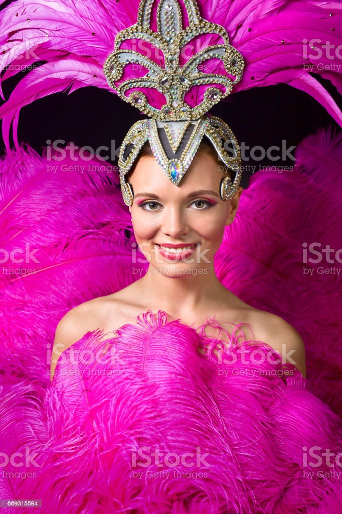 Beautiful Girl in carnival costume with pink feathers. stock photo