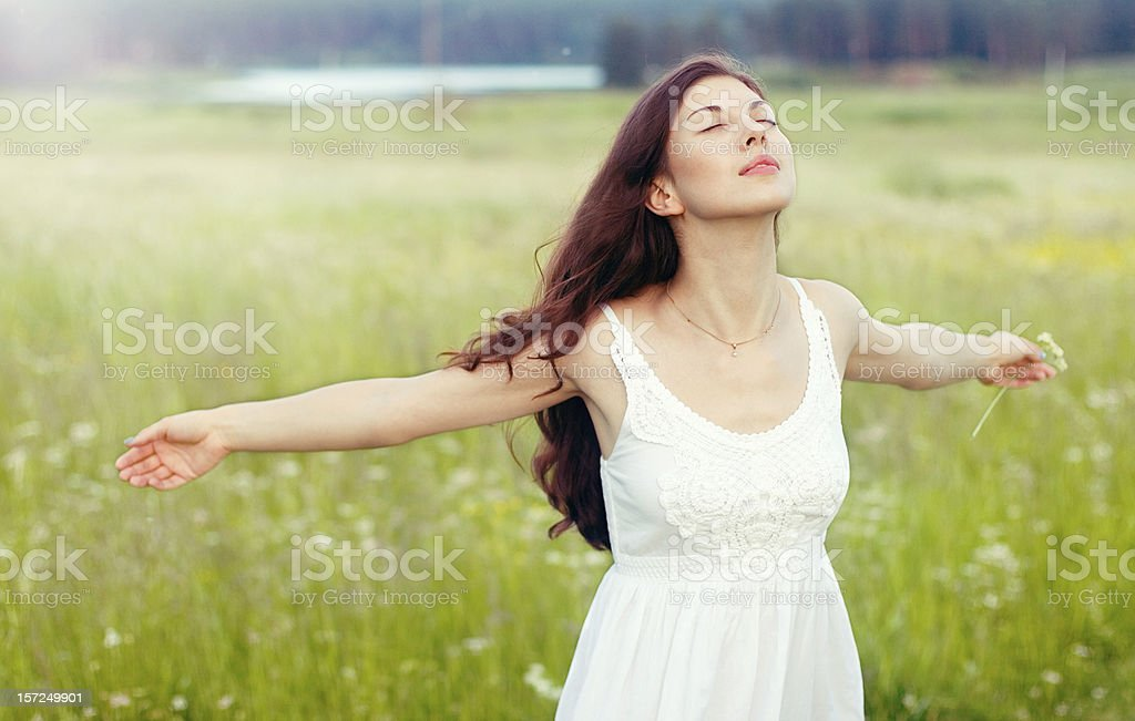 beautiful girl in field royalty-free stock photo