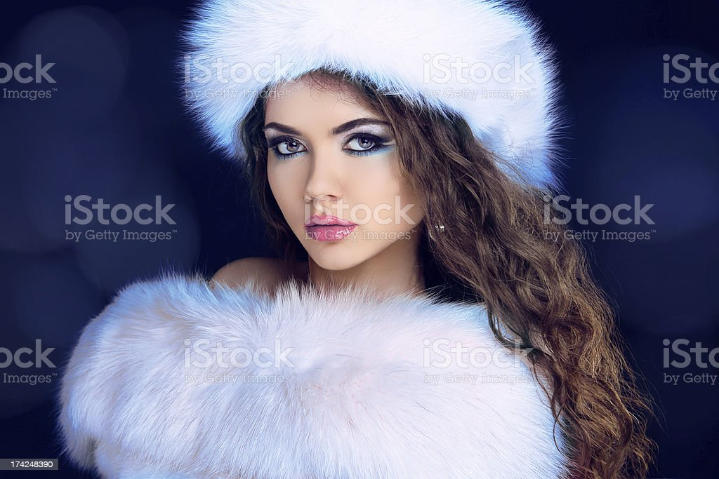 Beautiful Girl in Fur Coat and Furry Hat. Fashion Model. royalty-free stock photo