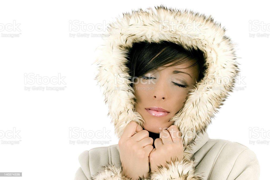 Beautiful girl in fur hood royalty-free stock photo