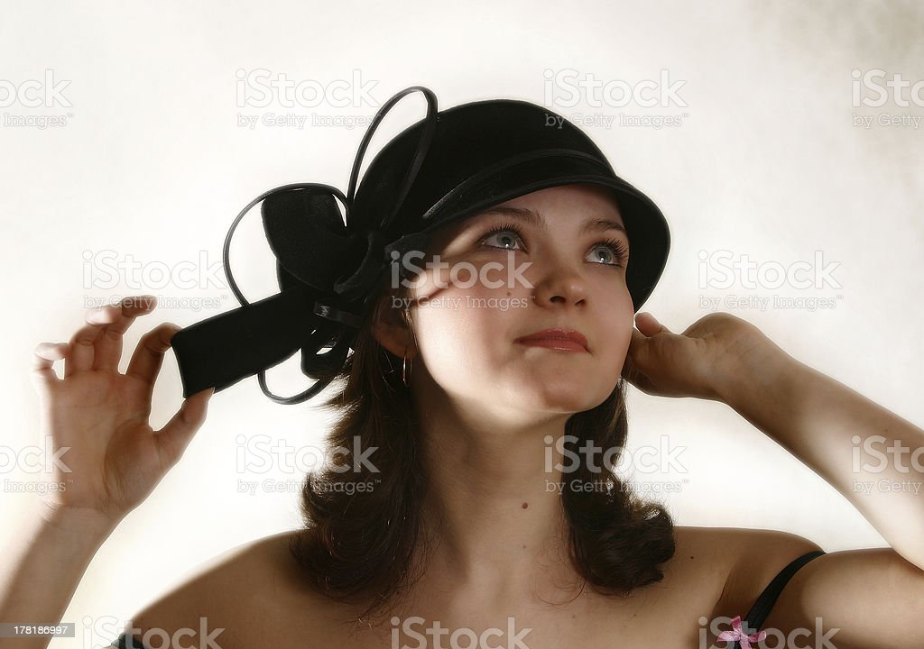 beautiful girl in hat royalty-free stock photo