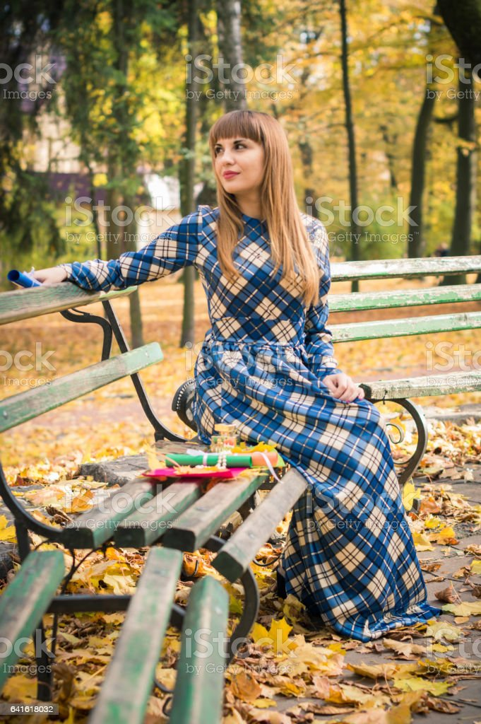 beautiful girl in park autumn royalty-free stock photo