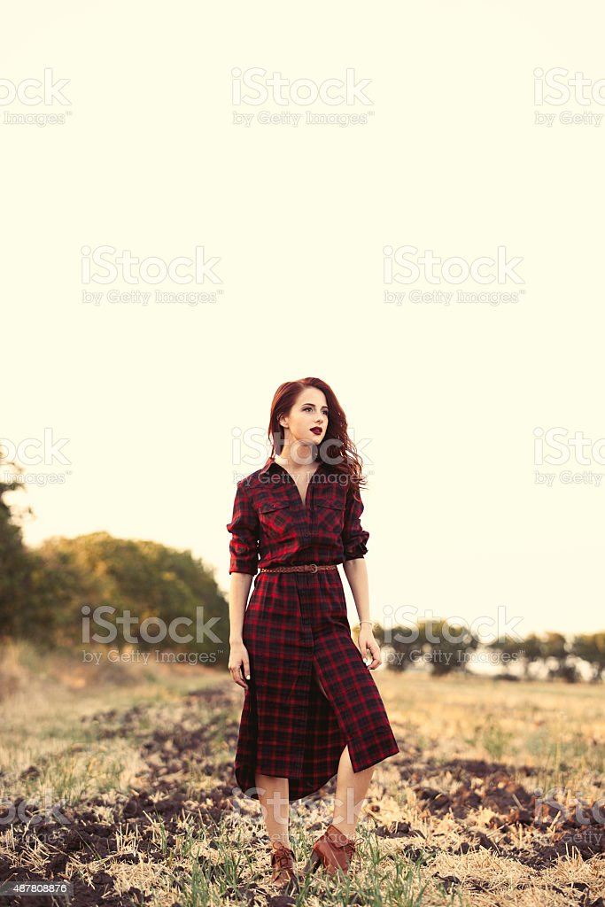Beautiful girl in plaid dress stock photo