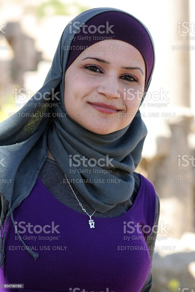 Beautiful girl in roman ancient city of Jerash, Jordan stock photo