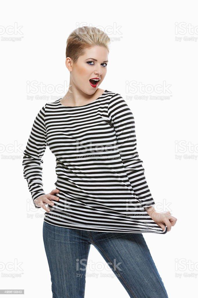 Beautiful girl in sailor shirt stock photo