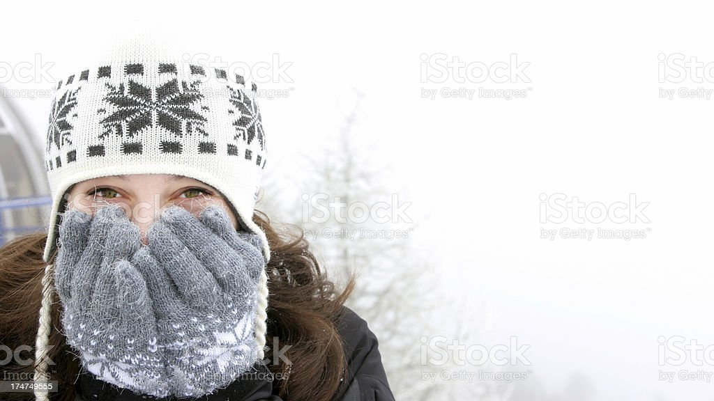 Beautiful Girl in Snow royalty-free stock photo