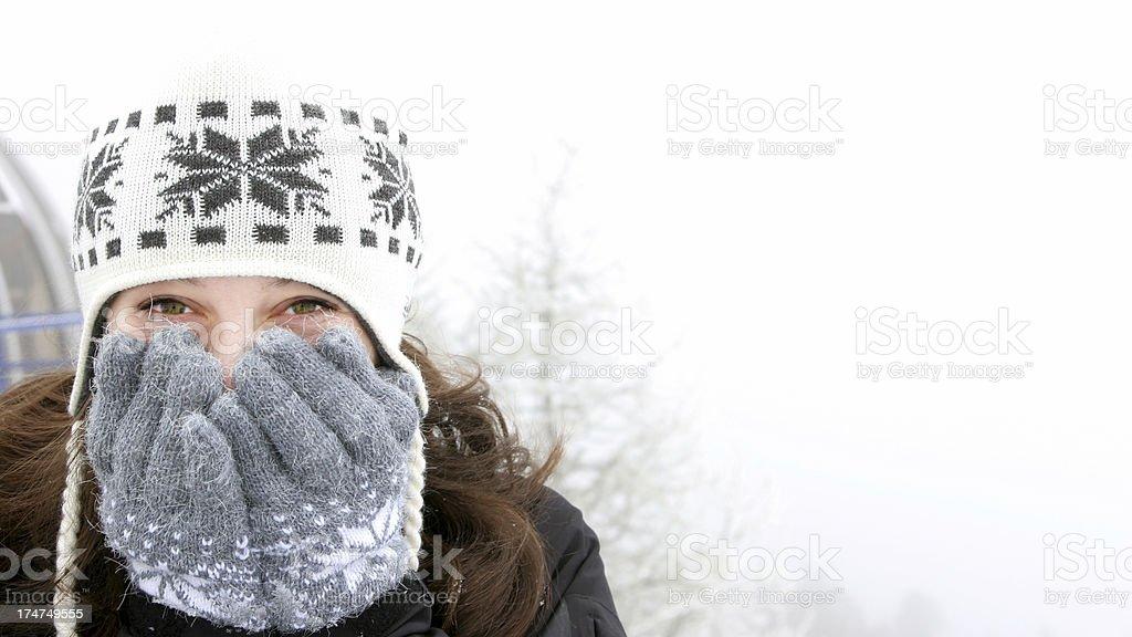 Beautiful Girl in Snow stock photo