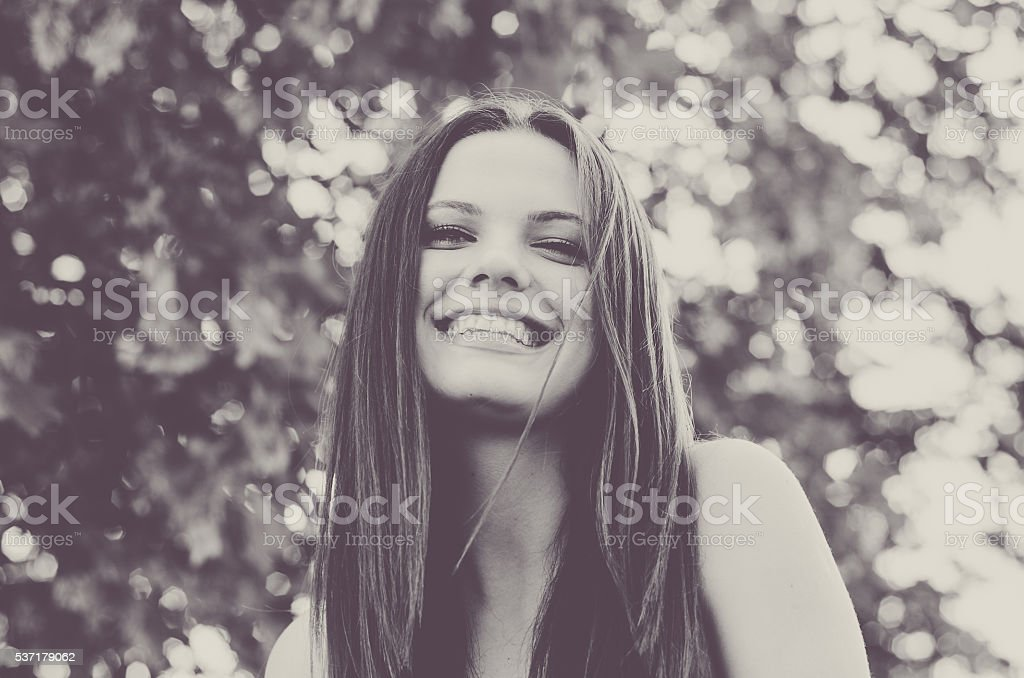 Beautiful girl in soft black and white photo stock photo