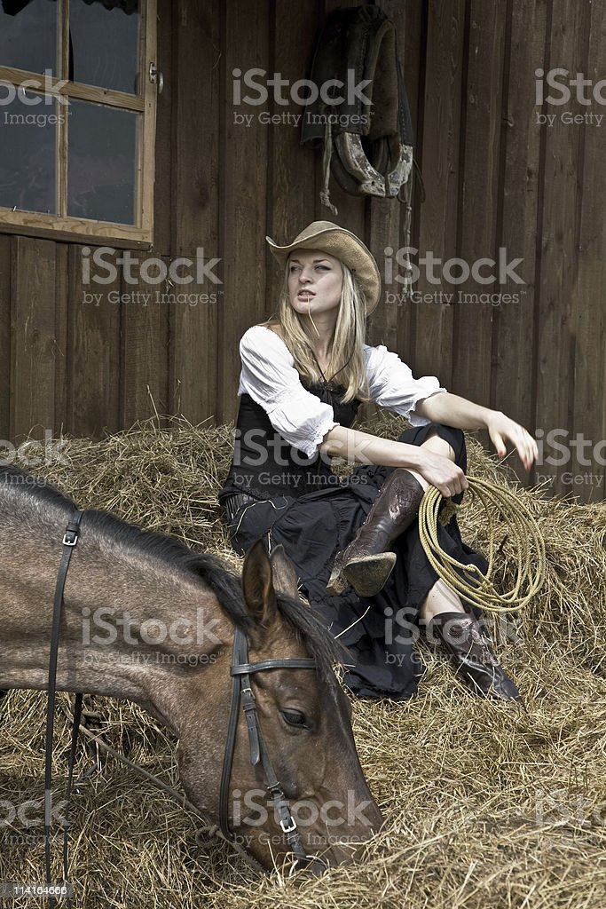 beautiful girl in style of the country stock photo
