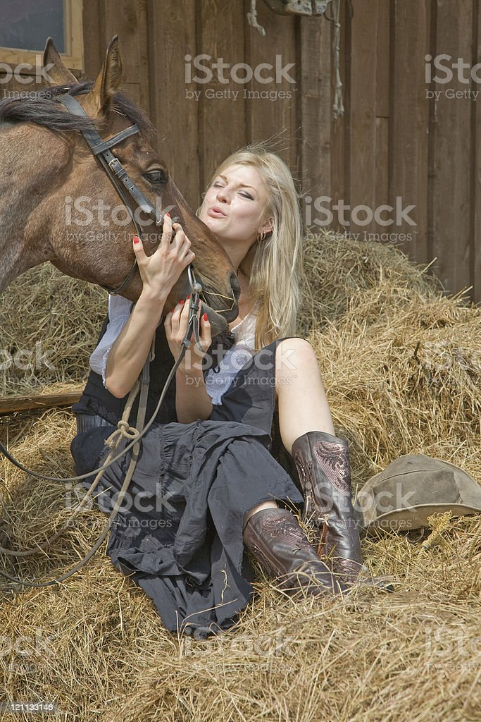beautiful girl in style of the country royalty-free stock photo