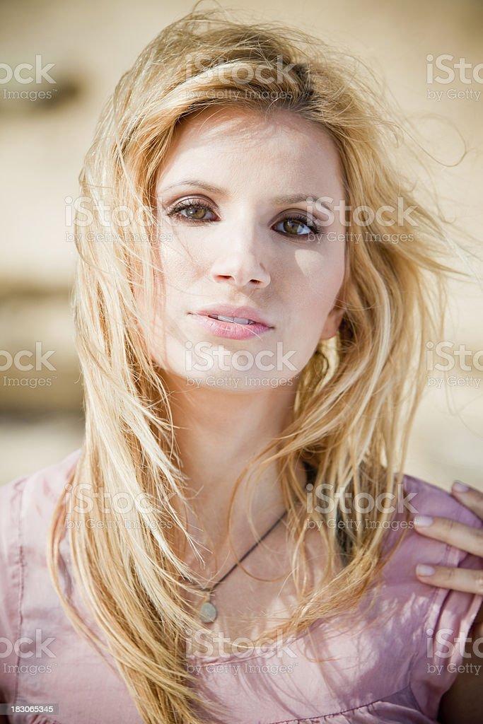 Beautiful Girl in the Breeze stock photo