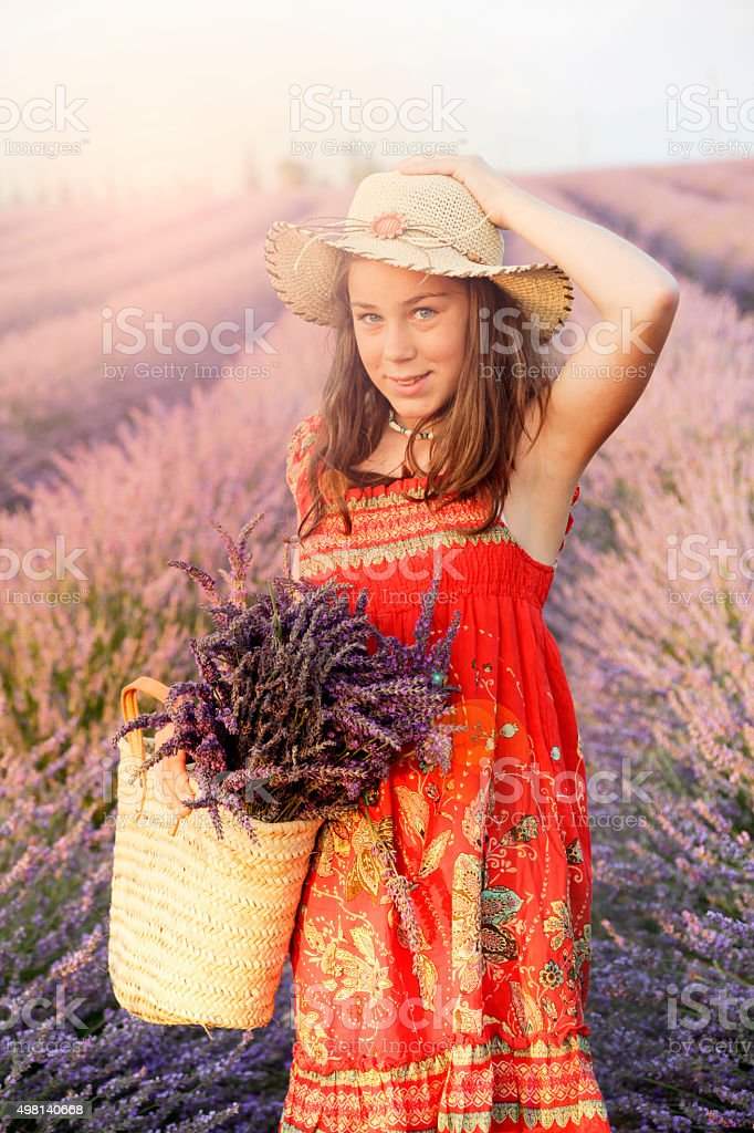 Beautiful girl in the lavender fields stock photo