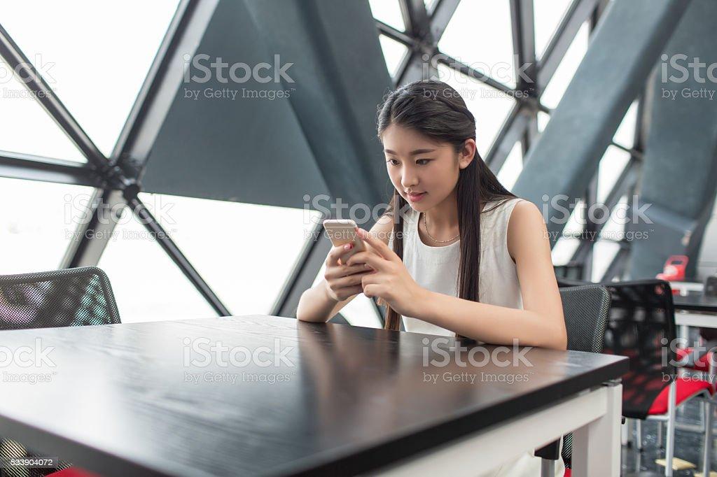 beautiful girl in the mall stock photo