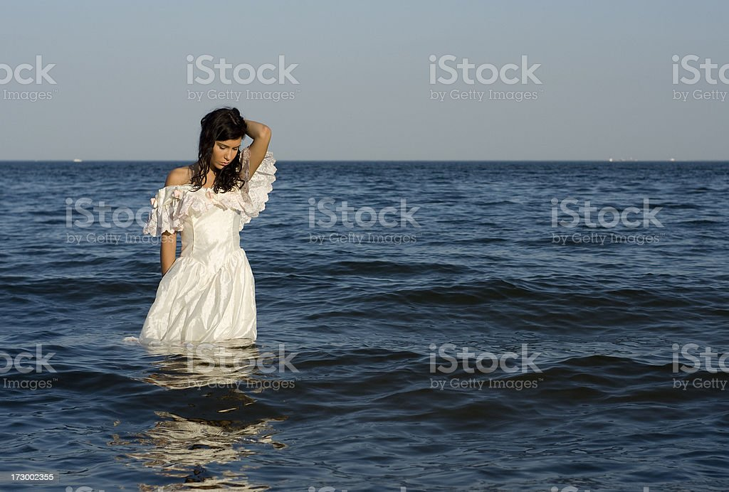 Beautiful girl in the sea. royalty-free stock photo