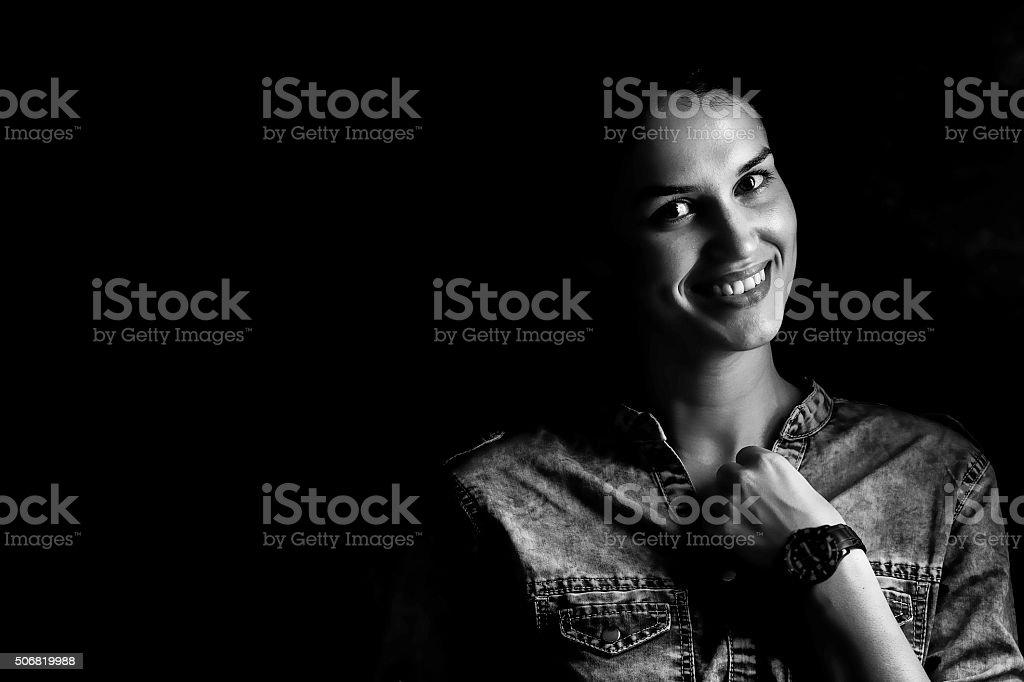 beautiful girl in the studio stock photo