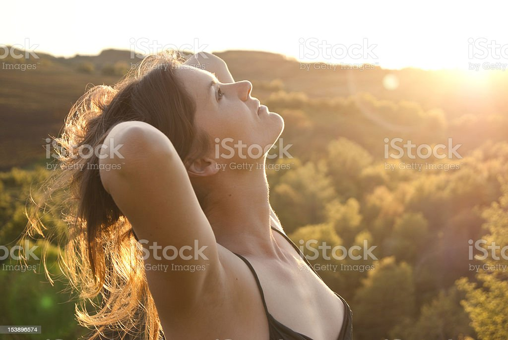 Beautiful girl in the sunlight royalty-free stock photo