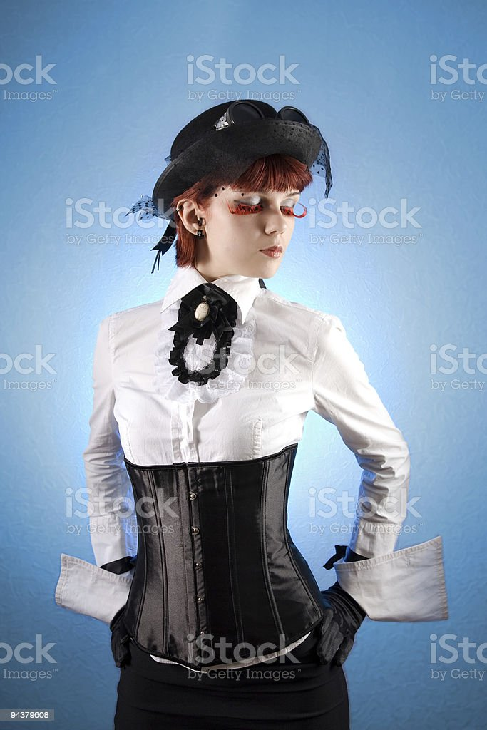 Beautiful girl in Victorian style clothes stock photo