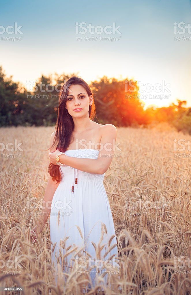 Beautiful girl in wheat field at sunset stock photo