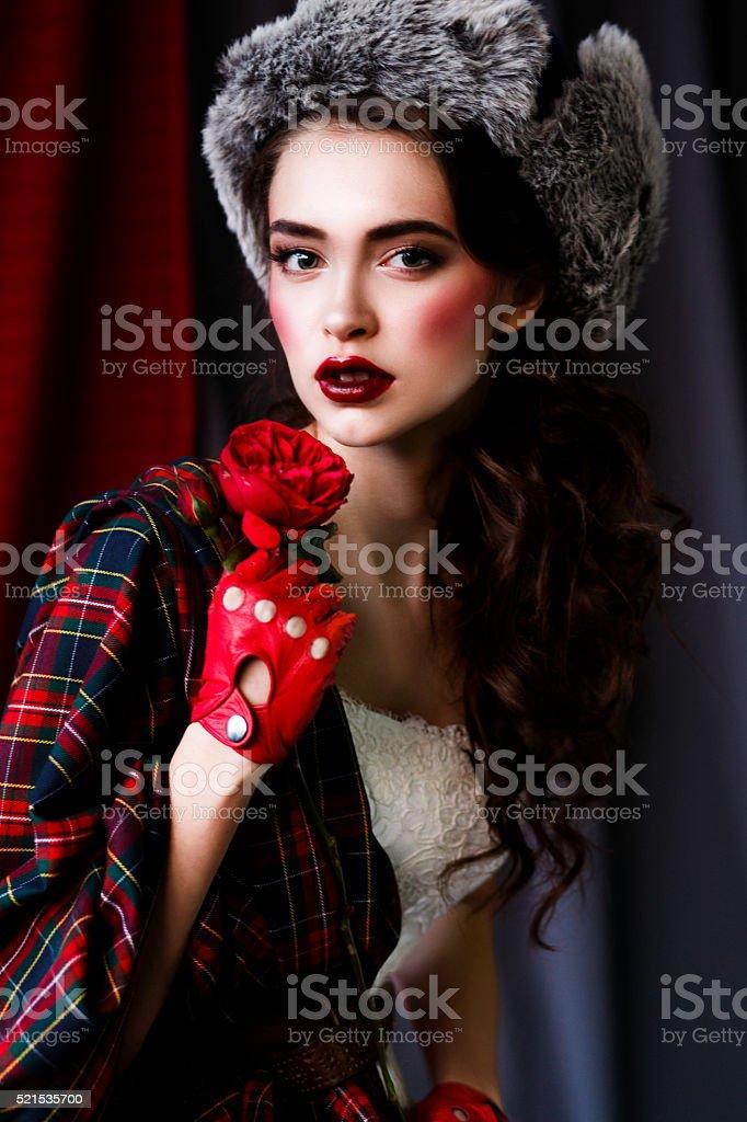 Beautiful Girl In Winter Hat stock photo