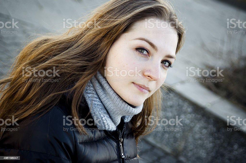 Beautiful girl, interesting shades. stock photo