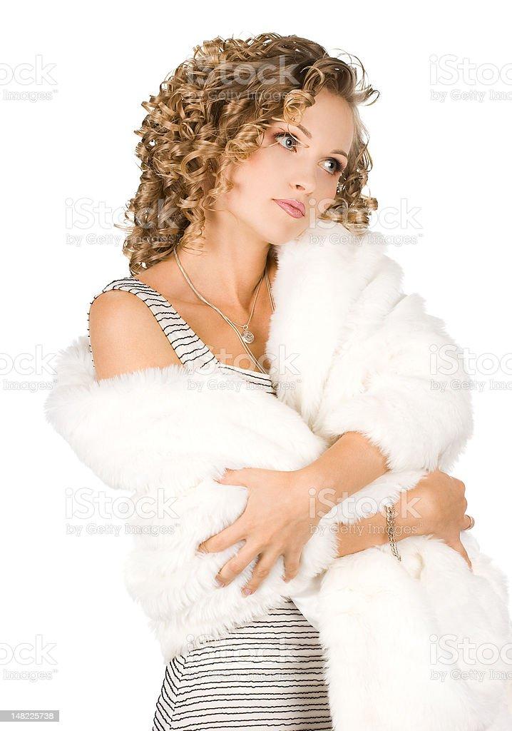 Bela Menina em um casaco de pele foto de stock royalty-free