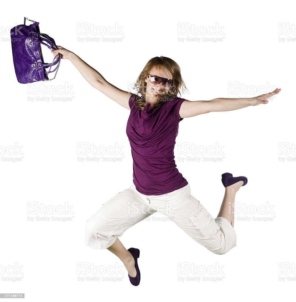 beautiful girl jump isolated on white royalty-free stock photo