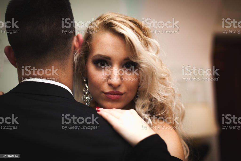 Beautiful girl looking at the camera stock photo