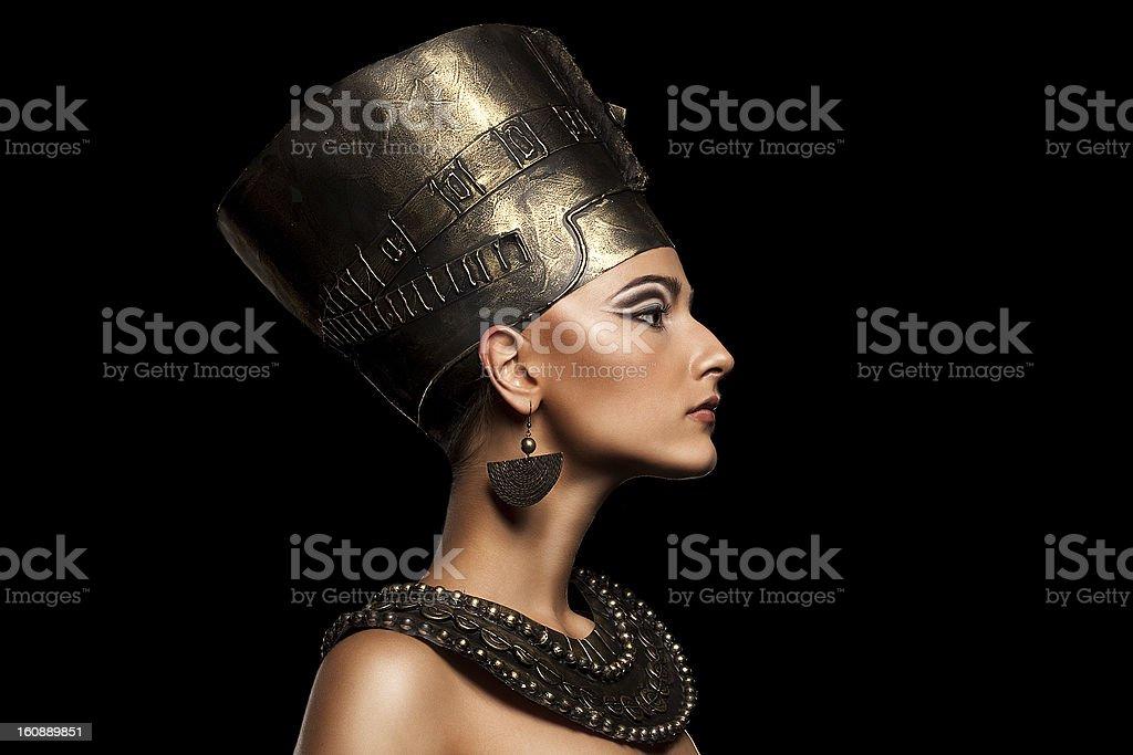 beautiful girl looks like nefertiti stock photo