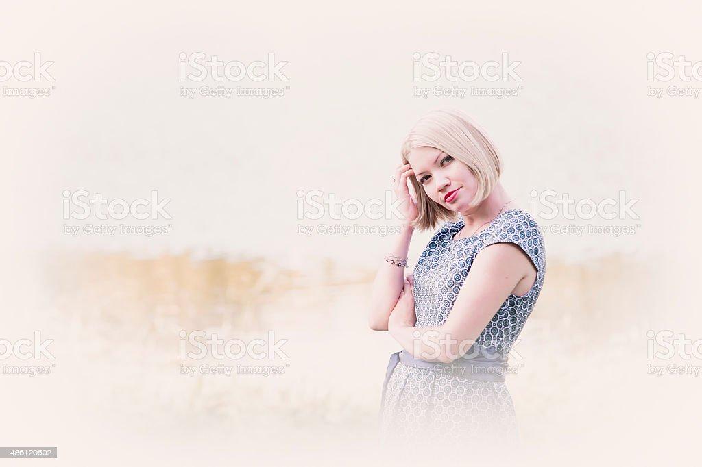 Beautiful girl on a light background stock photo