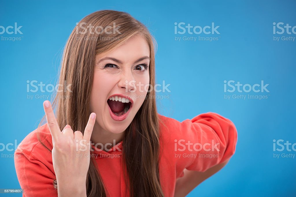 Beautiful girl on blue  background stock photo