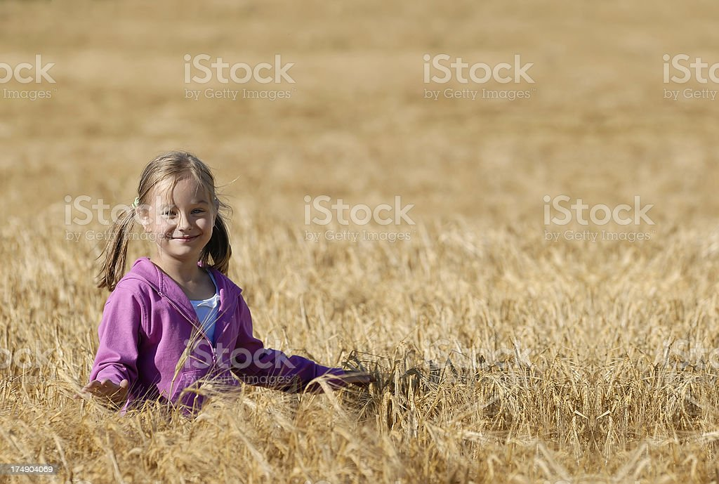 Beautiful girl on meadow royalty-free stock photo