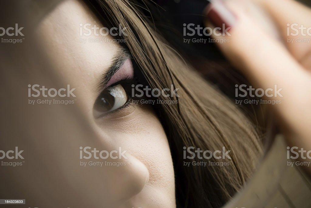 Beautiful girl on mirror stock photo