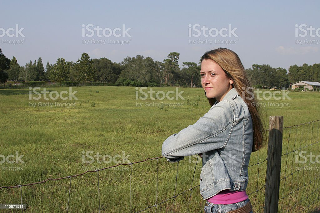 Beautiful Girl On Ranch royalty-free stock photo