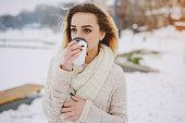 beautiful girl on winter walk