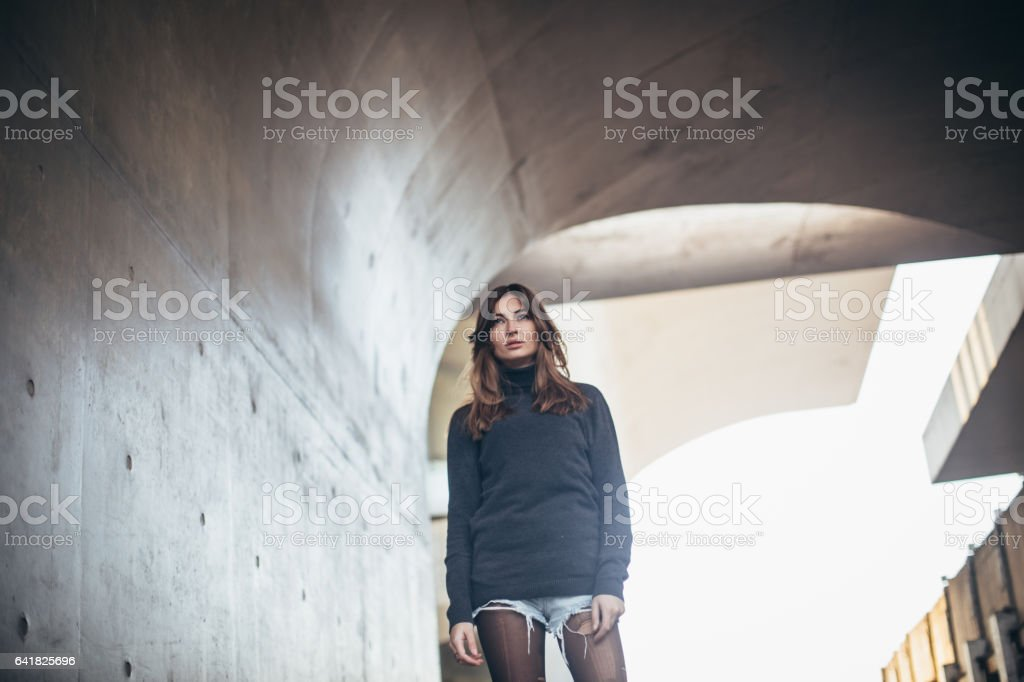 Beautiful girl outdors stock photo