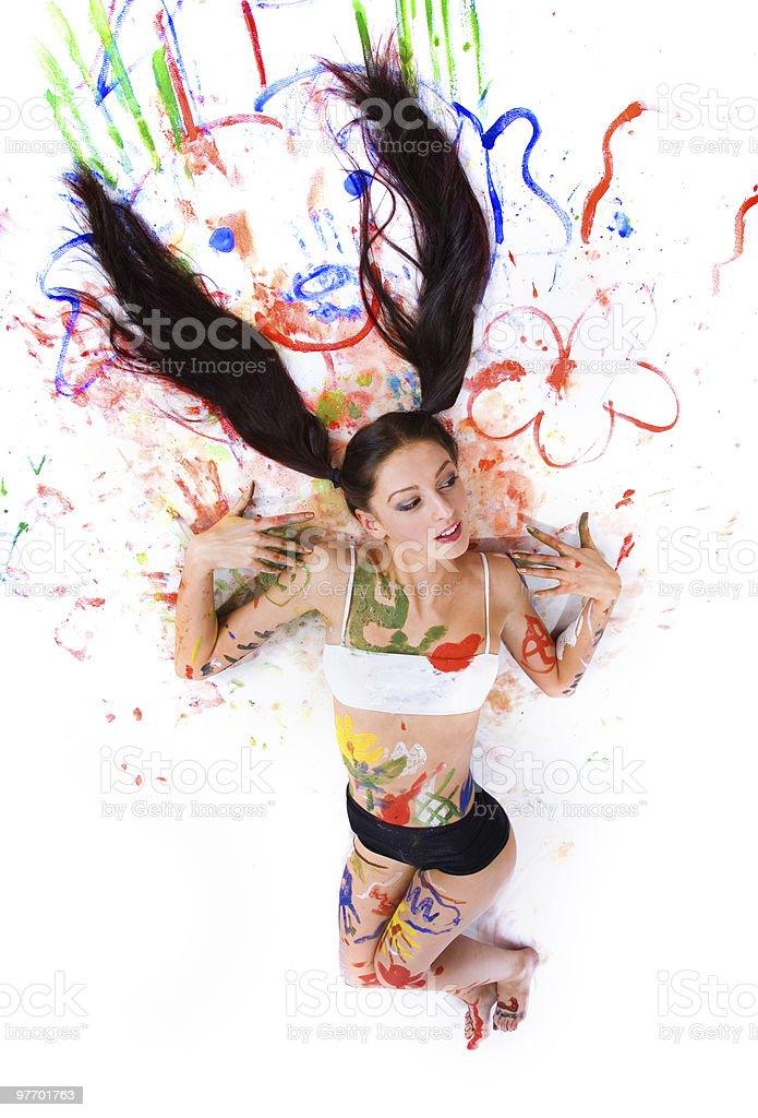 Beautiful girl paints royalty-free stock photo