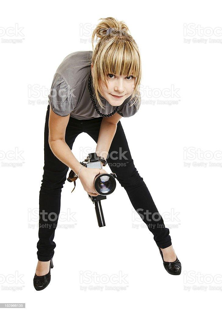 beautiful girl photographer isolated on white background stock photo
