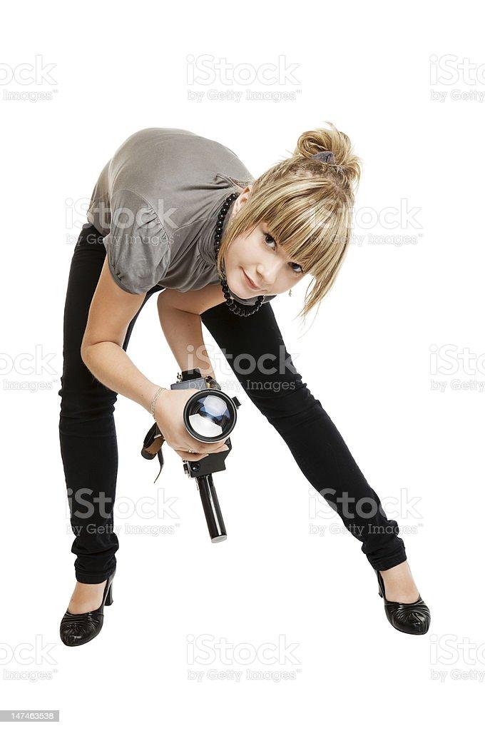 beautiful girl photographer stock photo