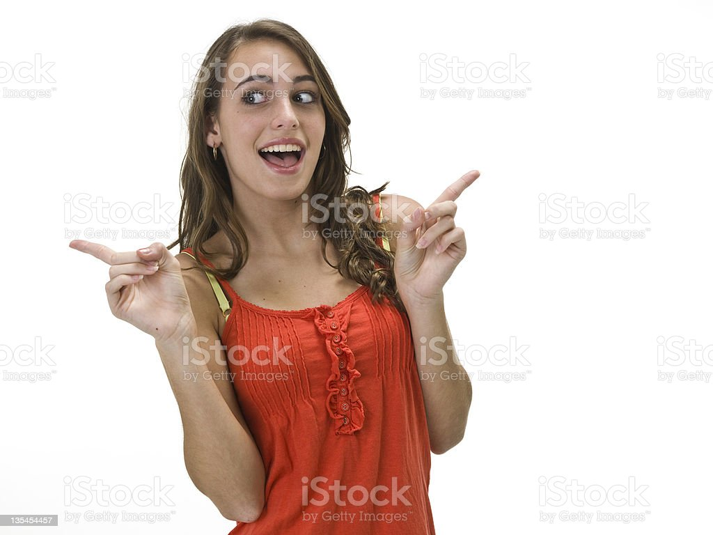 Beautiful girl pointing royalty-free stock photo