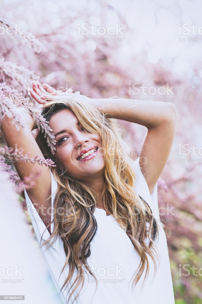 Beautiful girl portrait in springtime stock photo