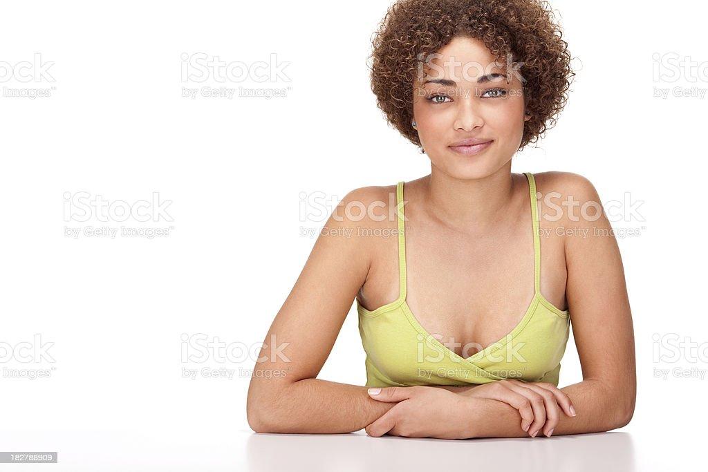 beautiful girl portrait on white background stock photo